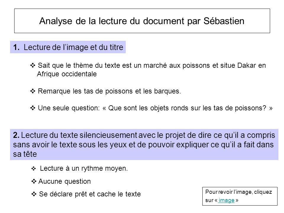 Analyse de la lecture du document par Sébastien Lecture à un rythme moyen. Aucune question Se déclare prêt et cache le texte 1. Lecture de limage et d
