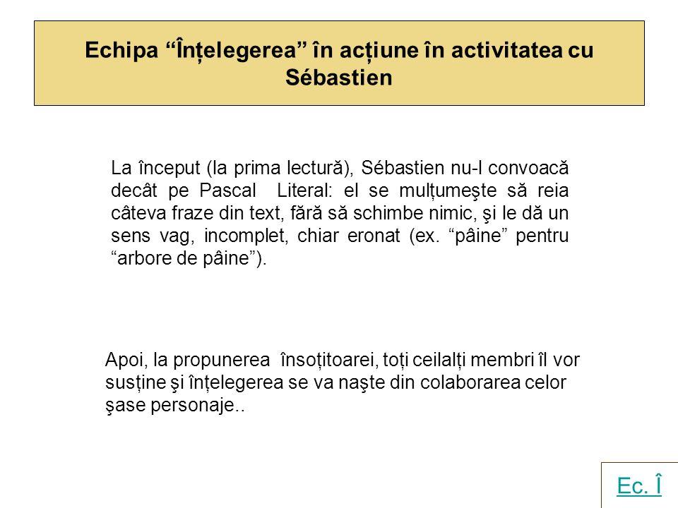 Echipa Înţelegerea în acţiune în activitatea cu Sébastien La început (la prima lectură), Sébastien nu-l convoacă decât pe Pascal Literal: el se mulţum