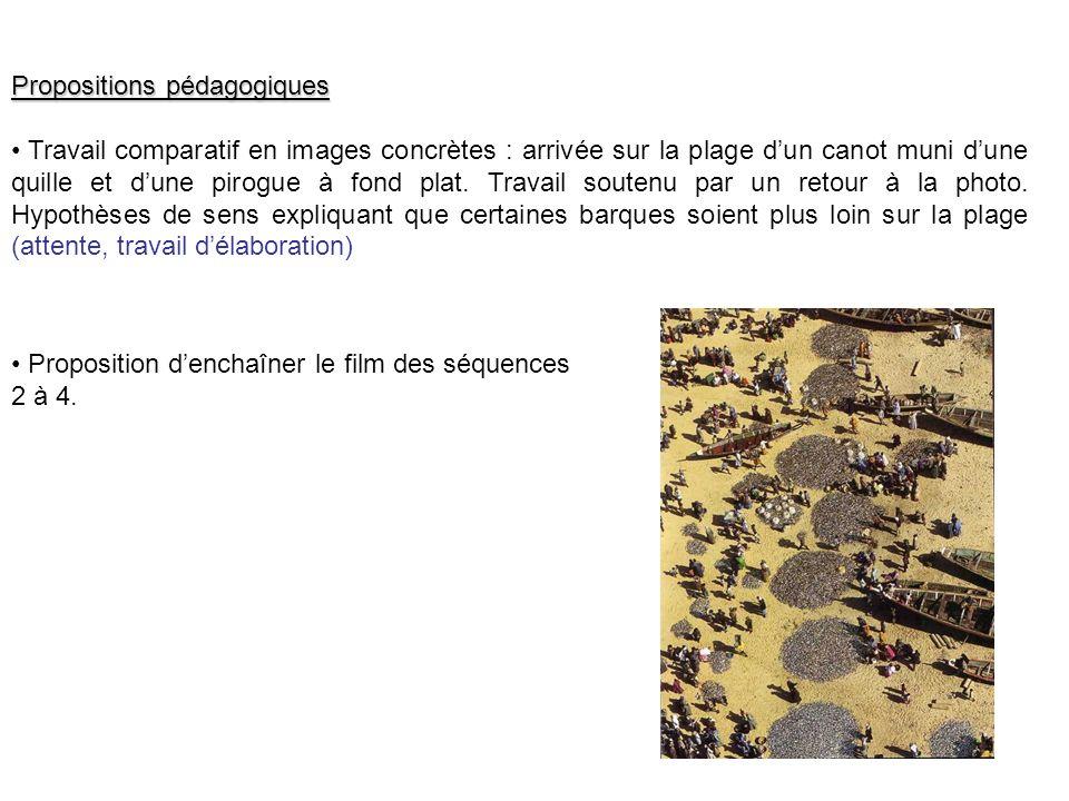 Propositions pédagogiques Travail comparatif en images concrètes : arrivée sur la plage dun canot muni dune quille et dune pirogue à fond plat.