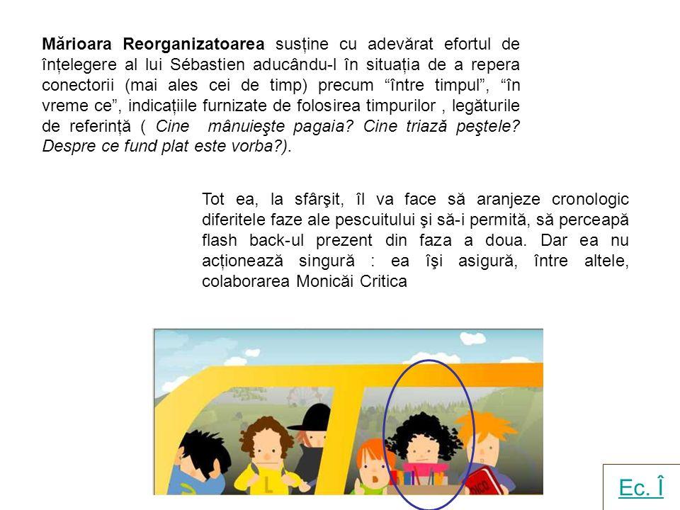 Mărioara Reorganizatoarea susţine cu adevărat efortul de înţelegere al lui Sébastien aducându-l în situaţia de a repera conectorii (mai ales cei de timp) precum între timpul, în vreme ce, indicaţiile furnizate de folosirea timpurilor, legăturile de referinţă ( Cine mânuieşte pagaia.