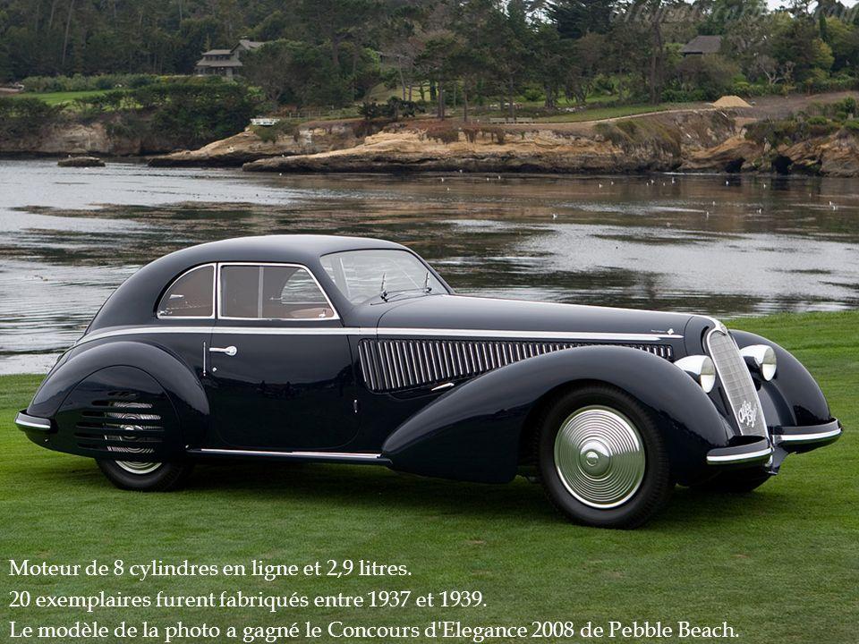 Moteur de 8 cylindres en ligne et 2,9 litres. 20 exemplaires furent fabriqués entre 1937 et 1939. Le modèle de la photo a gagné le Concours d'Elegance