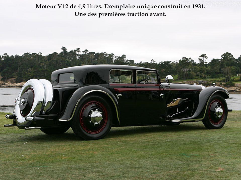 Moteur V12 de 4,9 litres. Exemplaire unique construit en 1931. Une des premières traction avant.