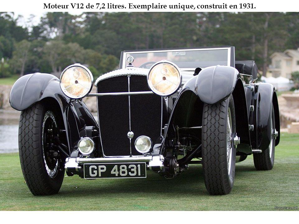 Moteur V12 de 7,2 litres. Exemplaire unique, construit en 1931.