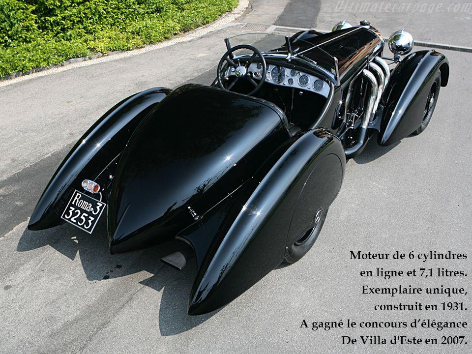 Moteur de 6 cylindres en ligne et 7,1 litres. Exemplaire unique, construit en 1931. A gagné le concours délégance De Villa d'Este en 2007.