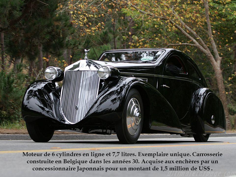 Moteur de 6 cylindres en ligne et 7,7 litres. Exemplaire unique. Carrosserie construite en Belgique dans les années 30. Acquise aux enchères par un co