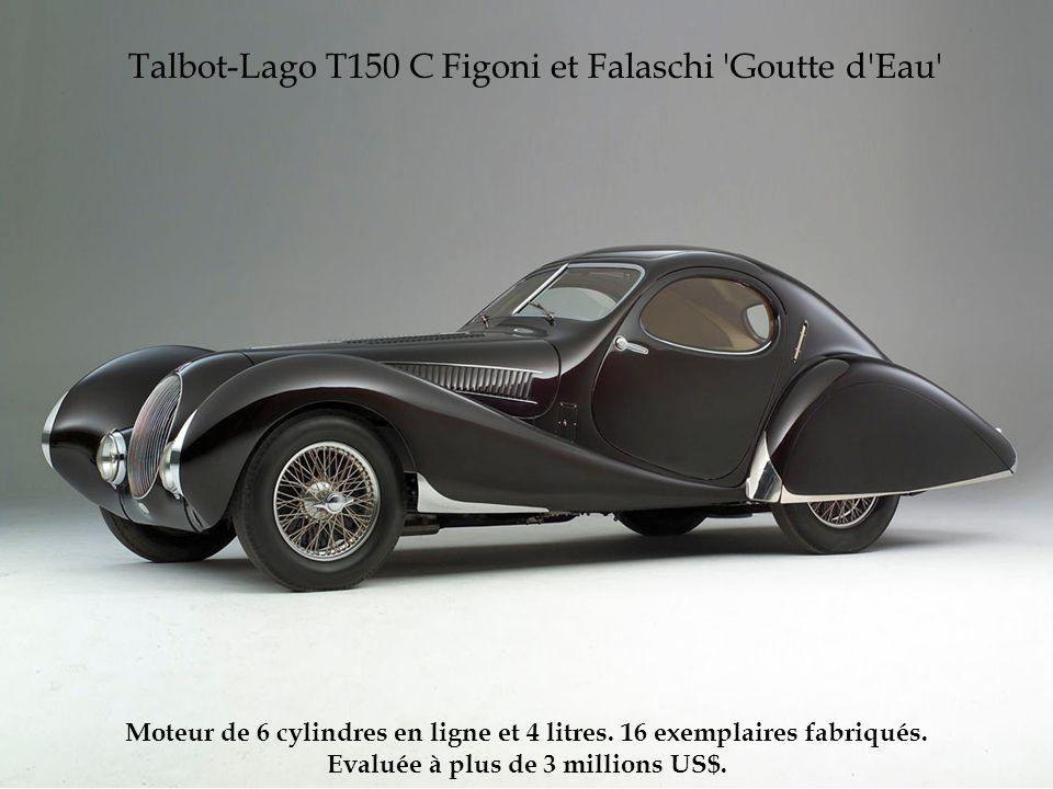 Talbot-Lago T150 C Figoni et Falaschi 'Goutte d'Eau' Moteur de 6 cylindres en ligne et 4 litres. 16 exemplaires fabriqués. Evaluée à plus de 3 million