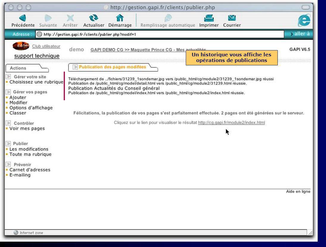 Il faut maintenant publier cette page sur le site Web pour quelle soit consultable par Internet Cliquez sur Publier les modifications