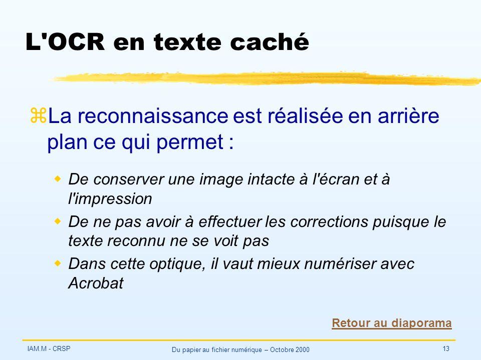 IAM.M - CRSP Du papier au fichier numérique – Octobre 2000 13 L'OCR en texte caché zLa reconnaissance est réalisée en arrière plan ce qui permet : wDe