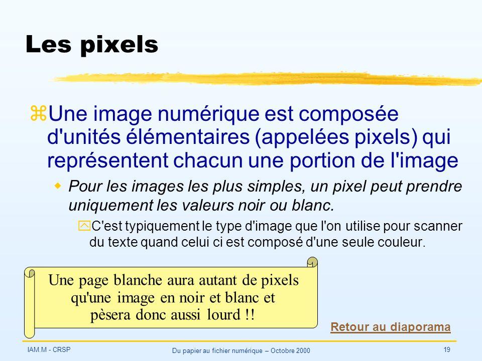 IAM.M - CRSP Du papier au fichier numérique – Octobre 2000 19 Les pixels zUne image numérique est composée d unités élémentaires (appelées pixels) qui représentent chacun une portion de l image wPour les images les plus simples, un pixel peut prendre uniquement les valeurs noir ou blanc.