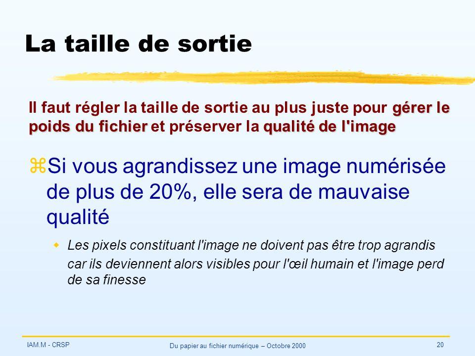 IAM.M - CRSP Du papier au fichier numérique – Octobre 2000 20 La taille de sortie zSi vous agrandissez une image numérisée de plus de 20%, elle sera de mauvaise qualité wLes pixels constituant l image ne doivent pas être trop agrandis car ils deviennent alors visibles pour l œil humain et l image perd de sa finesse gérer le poids du fichierqualité de l image Il faut régler la taille de sortie au plus juste pour gérer le poids du fichier et préserver la qualité de l image