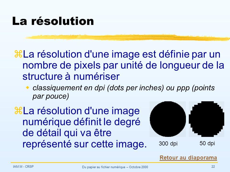 IAM.M - CRSP Du papier au fichier numérique – Octobre 2000 22 La résolution zLa résolution d une image est définie par un nombre de pixels par unité de longueur de la structure à numériser wclassiquement en dpi (dots per inches) ou ppp (points par pouce) zLa résolution d une image numérique définit le degré de détail qui va être représenté sur cette image.