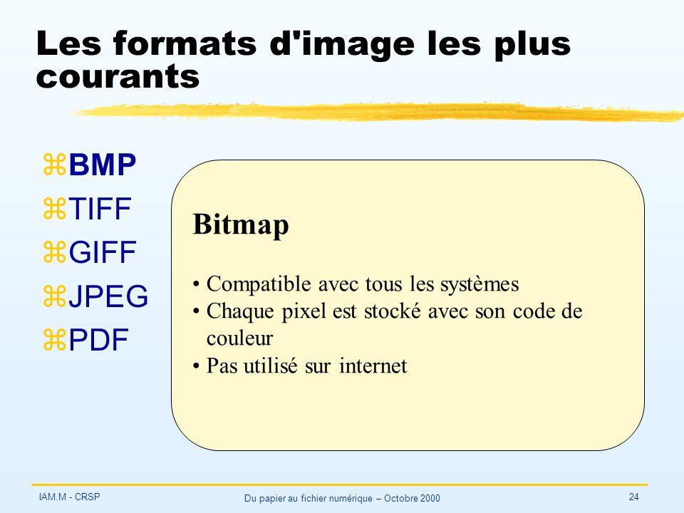 IAM.M - CRSP Du papier au fichier numérique – Octobre 2000 24 Les formats d image les plus courants zBMP zTIFF zGIFF zJPEG zPDF Bitmap Compatible avec tous les systèmes Chaque pixel est stocké avec son code de couleur Pas utilisé sur internet