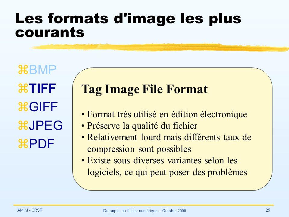 IAM.M - CRSP Du papier au fichier numérique – Octobre 2000 25 Les formats d'image les plus courants zBMP zTIFF zGIFF zJPEG zPDF Tag Image File Format