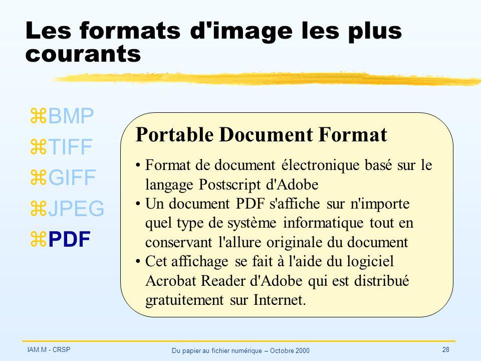 IAM.M - CRSP Du papier au fichier numérique – Octobre 2000 28 Les formats d'image les plus courants zBMP zTIFF zGIFF zJPEG zPDF Portable Document Form