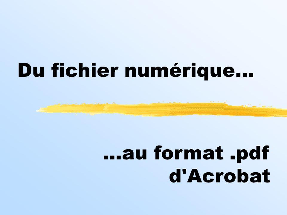 Du fichier numérique… …au format.pdf d'Acrobat