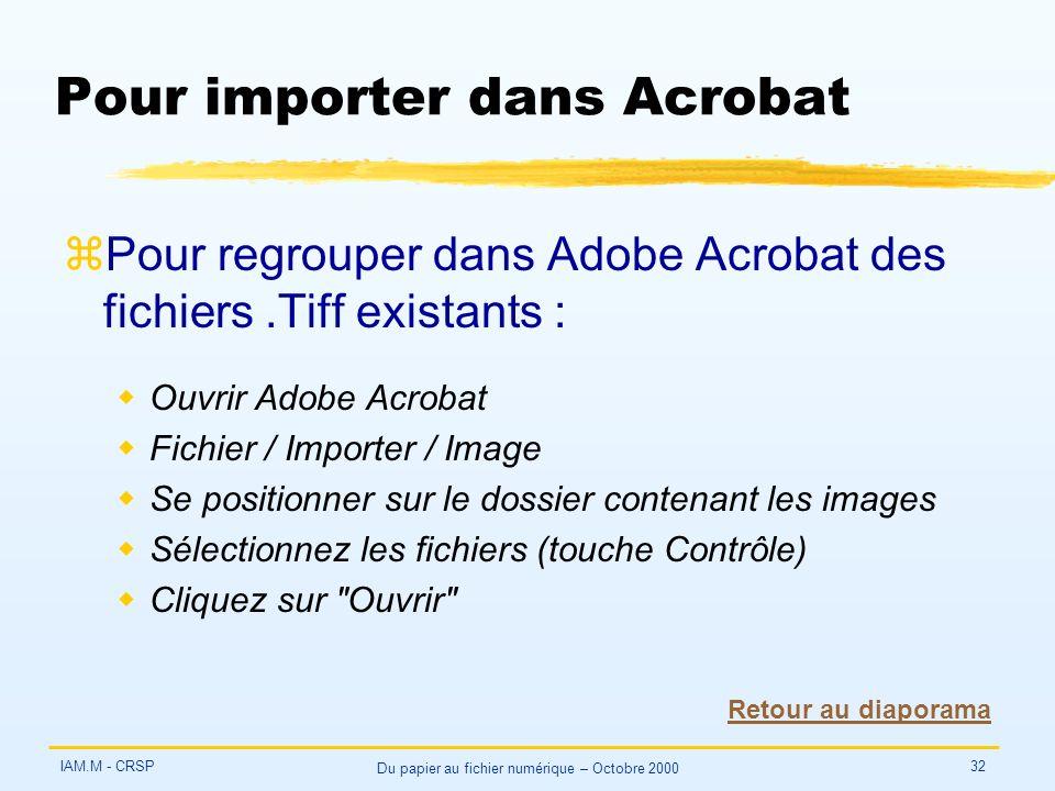 IAM.M - CRSP Du papier au fichier numérique – Octobre 2000 32 Pour importer dans Acrobat zPour regrouper dans Adobe Acrobat des fichiers.Tiff existant