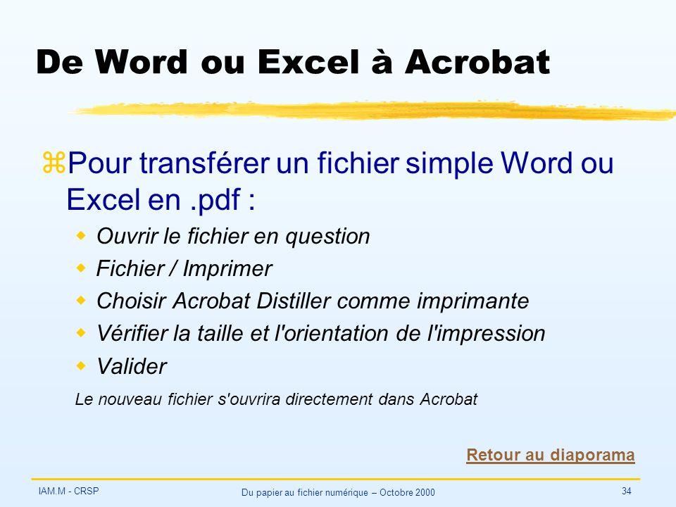 IAM.M - CRSP Du papier au fichier numérique – Octobre 2000 34 De Word ou Excel à Acrobat zPour transférer un fichier simple Word ou Excel en.pdf : wOu