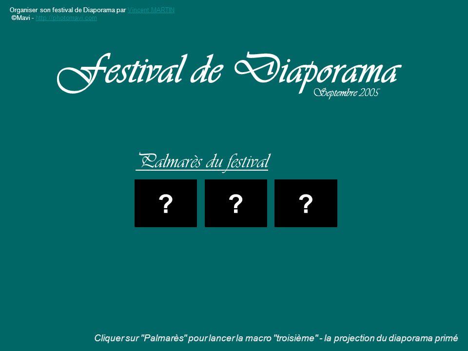 Organiser son festival de Diaporama par Vincent MARTINVincent MARTIN ©Mavi - http://photomavi.comhttp://photomavi.com Palmarès du festival Festival de Diaporama Septembre 2005 ??.