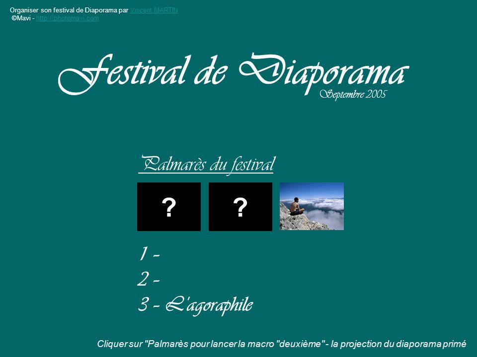 Organiser son festival de Diaporama par Vincent MARTINVincent MARTIN ©Mavi - http://photomavi.comhttp://photomavi.com Palmarès du festival Festival de Diaporama Septembre 2005 ?.