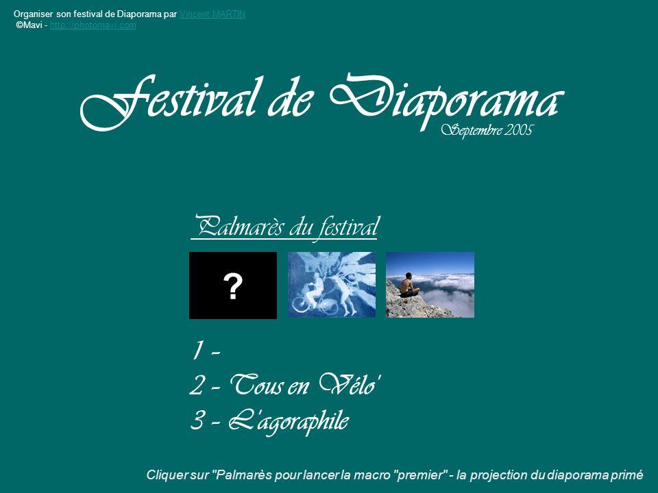 Organiser son festival de Diaporama par Vincent MARTINVincent MARTIN ©Mavi - http://photomavi.comhttp://photomavi.com Palmarès du festival Festival de Diaporama Septembre 2005 .