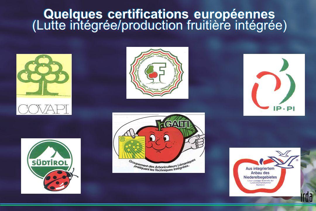 Quelques certifications européennes (Lutte intégrée/production fruitière intégrée)
