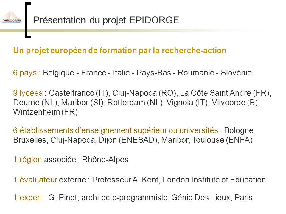 Présentation du projet EPIDORGE Un projet européen de formation par la recherche-action 6 pays : Belgique - France - Italie - Pays-Bas - Roumanie - Slovénie 9 lycées : Castelfranco (IT), Cluj-Napoca (RO), La Côte Saint André (FR), Deurne (NL), Maribor (SI), Rotterdam (NL), Vignola (IT), Vilvoorde (B), Wintzenheim (FR) 1 région associée : Rhône-Alpes 1 évaluateur externe : Professeur A.