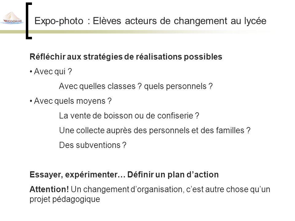 Expo-photo : Elèves acteurs de changement au lycée Réfléchir aux stratégies de réalisations possibles Avec qui .