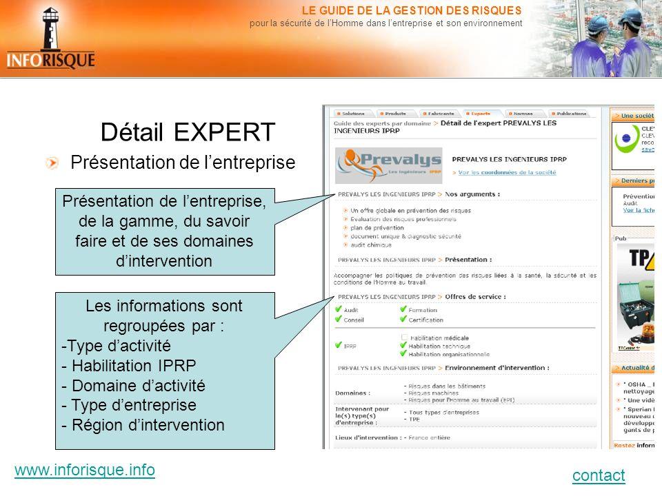 www.inforisque.info contact LE GUIDE DE LA GESTION DES RISQUES pour la sécurité de lHomme dans lentreprise et son environnement Détail EXPERT Présenta