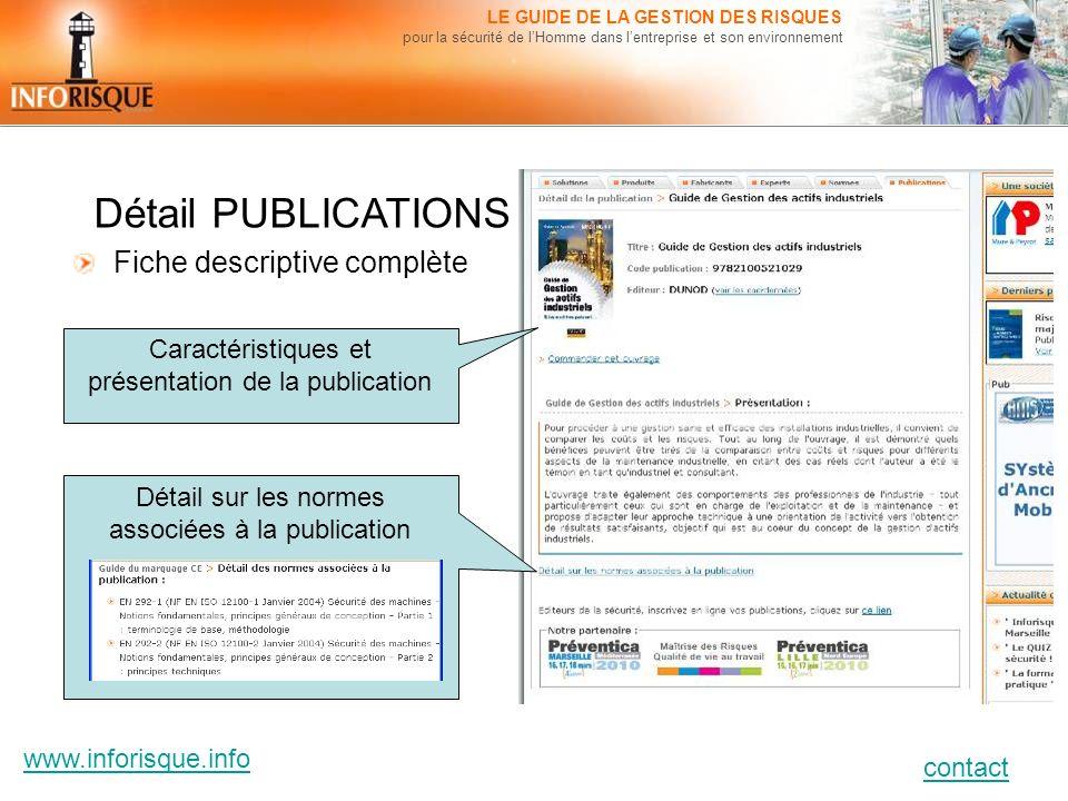 www.inforisque.info contact LE GUIDE DE LA GESTION DES RISQUES pour la sécurité de lHomme dans lentreprise et son environnement Détail PUBLICATIONS Fi