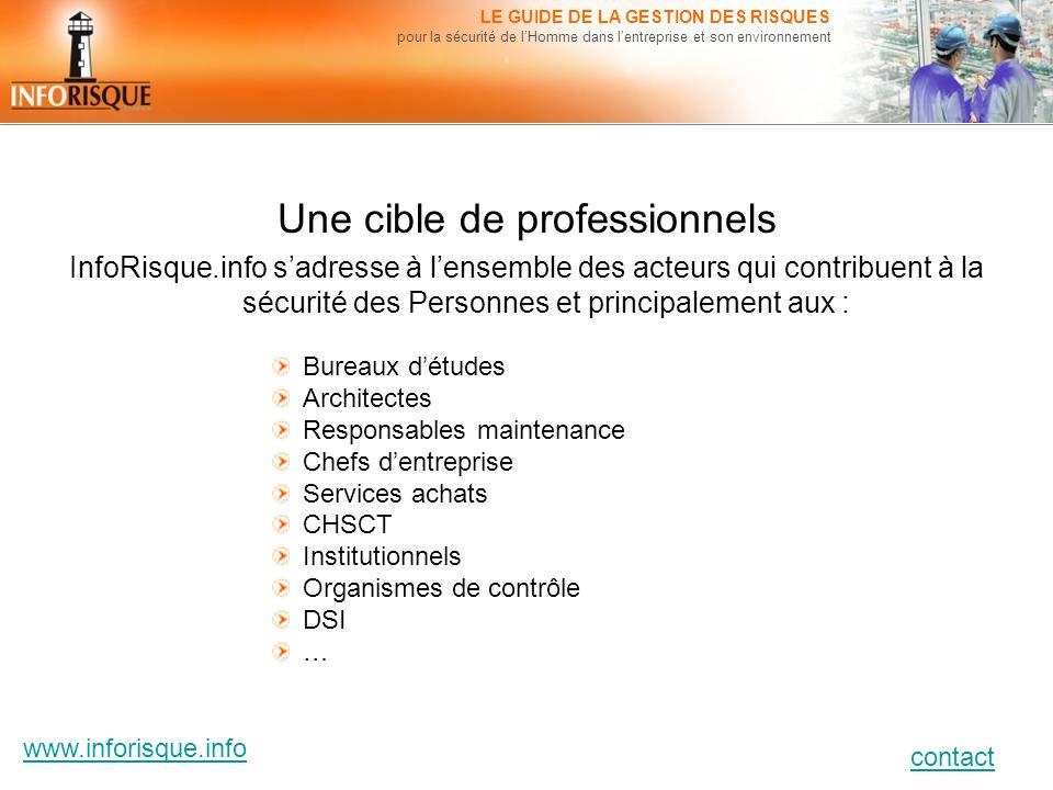 www.inforisque.info contact LE GUIDE DE LA GESTION DES RISQUES pour la sécurité de lHomme dans lentreprise et son environnement Une cible de professio