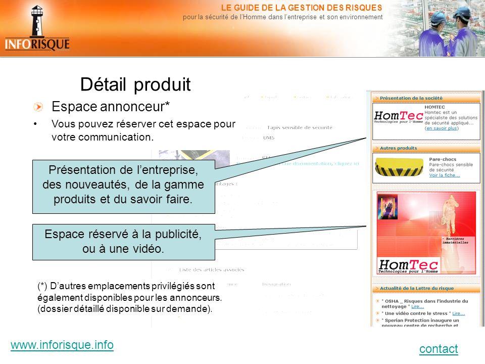www.inforisque.info contact LE GUIDE DE LA GESTION DES RISQUES pour la sécurité de lHomme dans lentreprise et son environnement Détail produit Espace