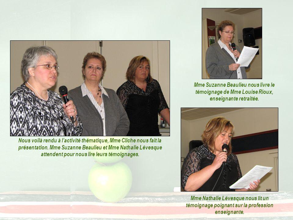 Mme Suzanne Beaulieu nous livre le témoignage de Mme Louise Rioux, enseignante retraitée. Nous voilà rendu à lactivité thématique, Mme Cliche nous fai