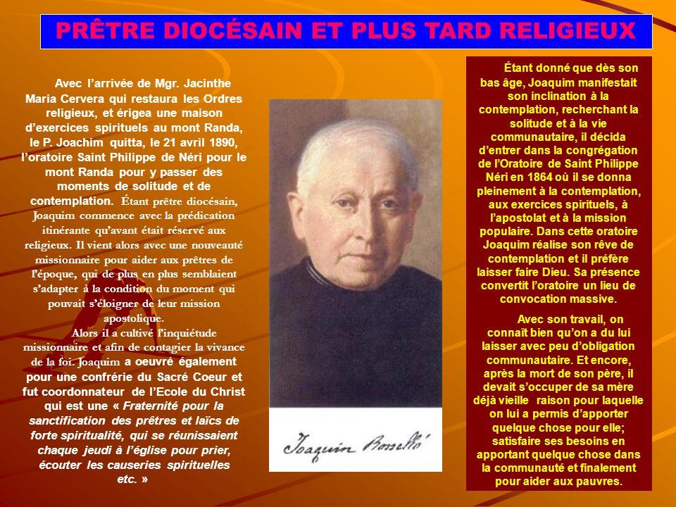 JOAQUIN AU SEMINAIRE ET SA VOCATION A LA PRETRISE ET A LA VIE RELIGIEUSE On constate que dans les premières années, Joaquin nexprimait pas son adhésion à la vie sacerdotale.