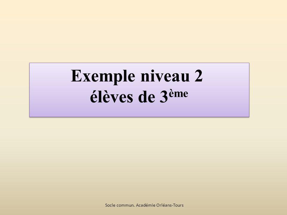 Exemple niveau 2 élèves de 3 ème Exemple niveau 2 élèves de 3 ème Socle commun.