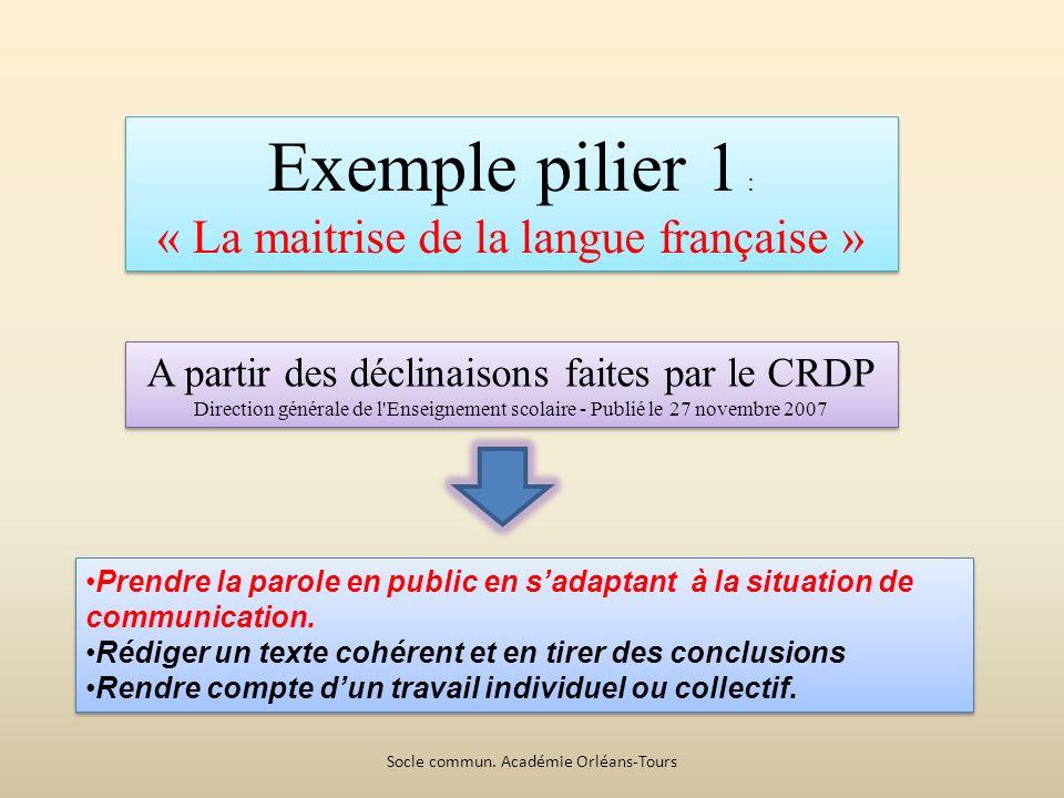 Exemple pilier 1 : « La maitrise de la langue française » Exemple pilier 1 : « La maitrise de la langue française » Prendre la parole en public en sadaptant à la situation de communication.