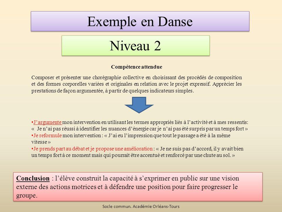 Exemple en Danse Niveau 2 Compétence attendue Composer et présenter une chorégraphie collective en choisissant des procédés de composition et des formes corporelles variées et originales en relation avec le projet expressif.