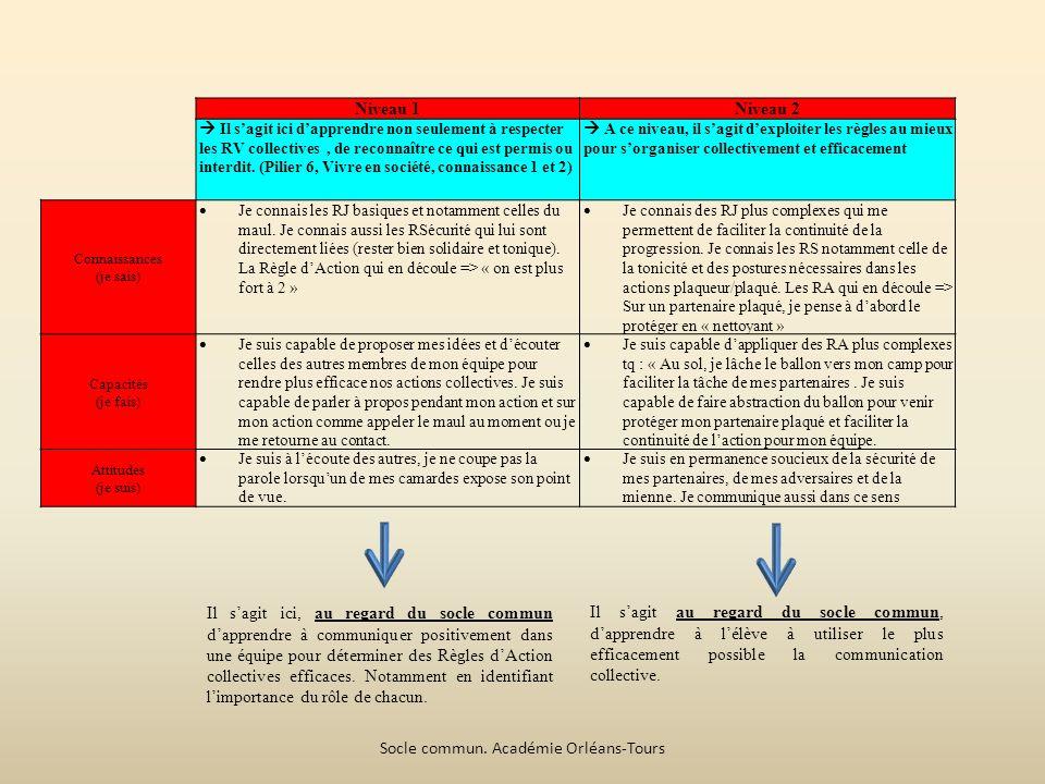 Niveau 1Niveau 2 Il sagit ici dapprendre non seulement à respecter les RV collectives, de reconnaître ce qui est permis ou interdit.