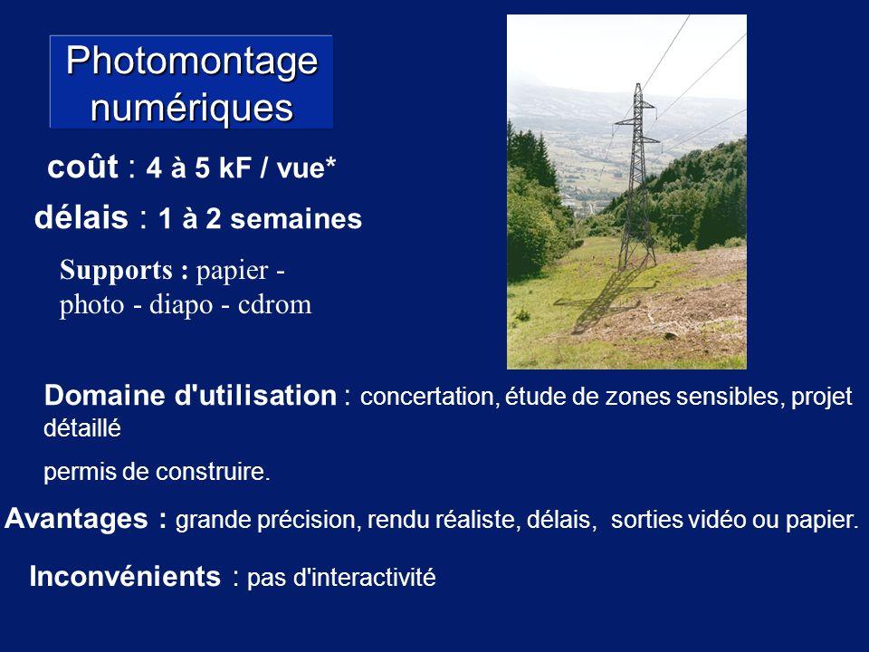 Photomontage numériques Avantages : grande précision, rendu réaliste, délais, sorties vidéo ou papier.