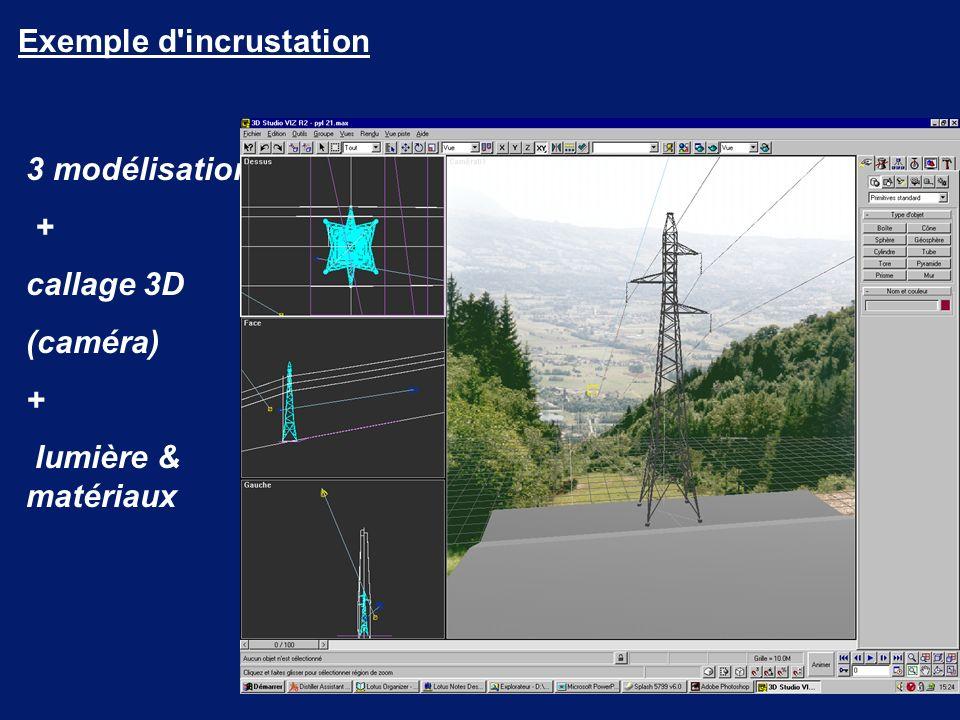 3 modélisation + callage 3D (caméra) + lumière & matériaux Exemple d incrustation