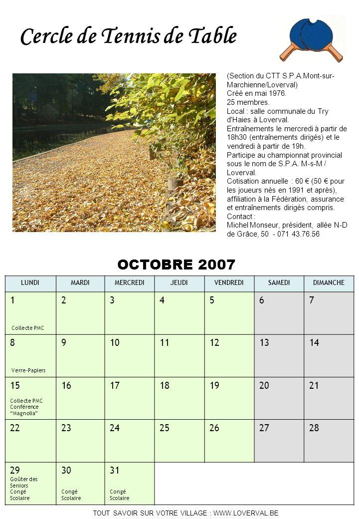 TOUT SAVOIR SUR VOTRE VILLAGE : WWW.LOVERVAL.BE OCTOBRE 2007 LUNDIMARDIMERCREDIJEUDIVENDREDISAMEDIDIMANCHE 1 Collecte PMC 234567 8 Verre-Papiers 91011