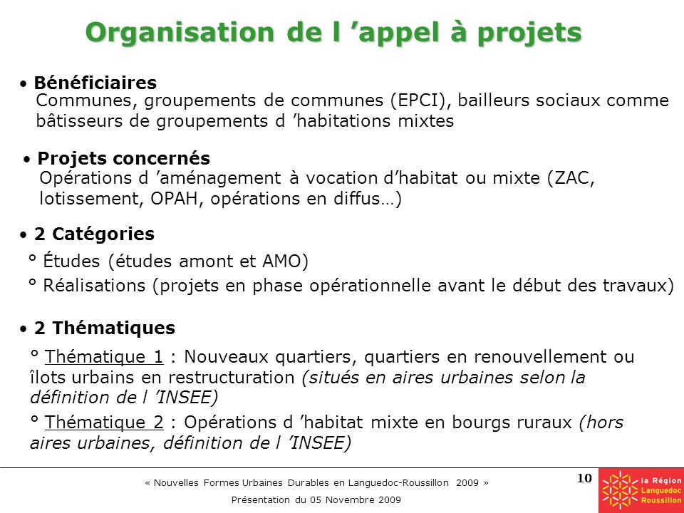 « Nouvelles Formes Urbaines Durables en Languedoc-Roussillon 2009 » Présentation du 05 Novembre 2009 10 Organisation de l appel à projets 2 Thématique