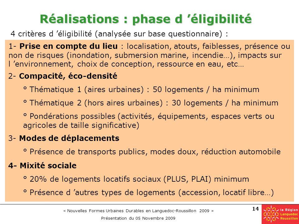 « Nouvelles Formes Urbaines Durables en Languedoc-Roussillon 2009 » Présentation du 05 Novembre 2009 14 Réalisations : phase d éligibilité 4- Mixité s