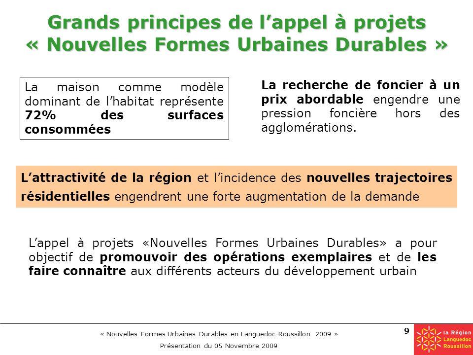 « Nouvelles Formes Urbaines Durables en Languedoc-Roussillon 2009 » Présentation du 05 Novembre 2009 9 Grands principes de lappel à projets « Nouvelle
