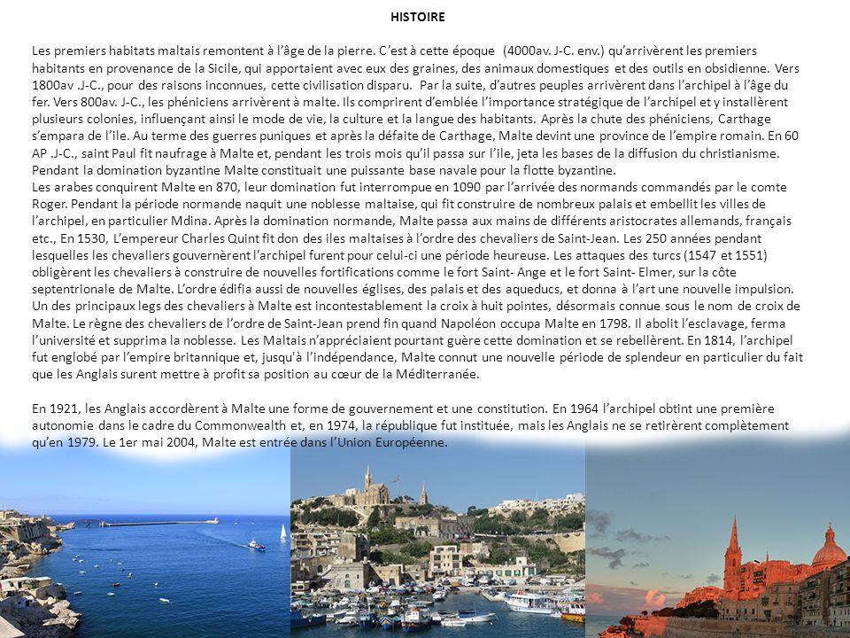 HISTOIRE Les premiers habitats maltais remontent à lâge de la pierre. Cest à cette époque (4000av. J-C. env.) quarrivèrent les premiers habitants en p