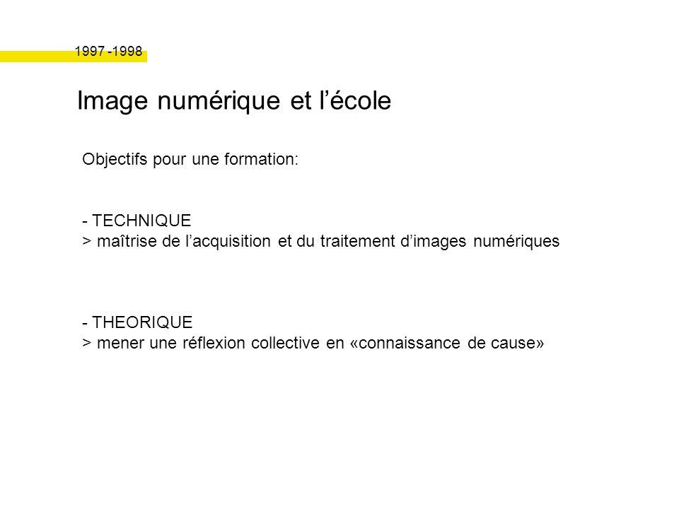 Image numérique et lécole Objectifs pour une formation: - TECHNIQUE > maîtrise de lacquisition et du traitement dimages numériques - THEORIQUE > mener une réflexion collective en «connaissance de cause» 1997 -1998