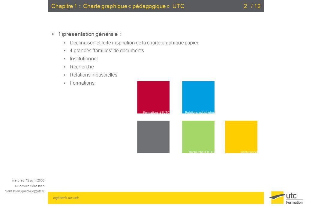 mercredi 12 avril 2006 Quedville Sébastien Sebastien.quedville@utc.fr Ingénierie du web / 123Chapitre 1 :: Charte graphique « pédagogique » UTC 2) Gabarit «cours » UTC