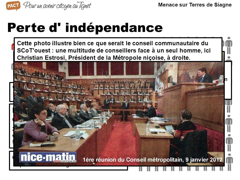 Perte d indépendance Conseil communautaire de la CCTS Représentation du Tignet Au sein du Conseil de la CA SCOT ouest, Peymeinade n aurait que 2 représentants.