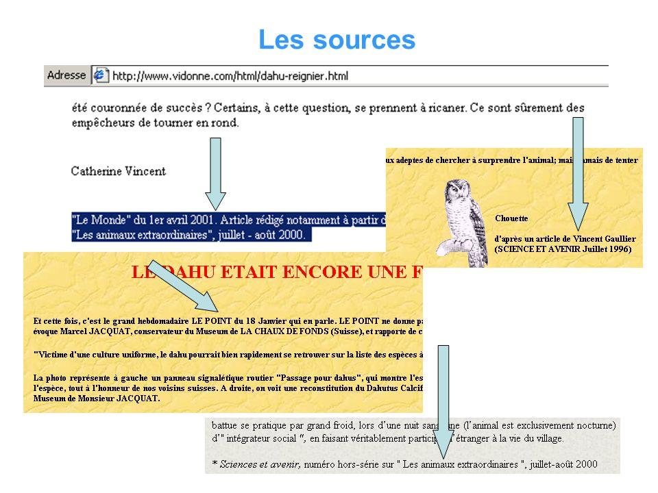 Titre du site Adresse du site (url) Auteur Mise à jour Sources citées et identifiées