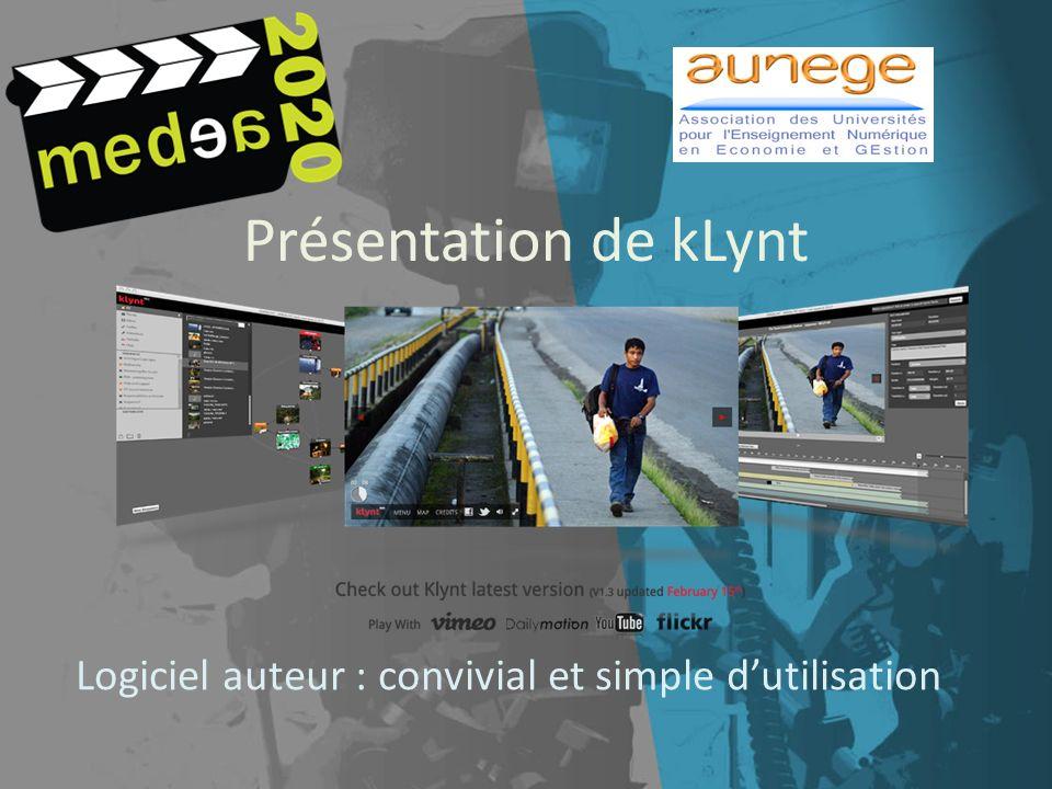 Présentation de kLynt Logiciel auteur : convivial et simple dutilisation