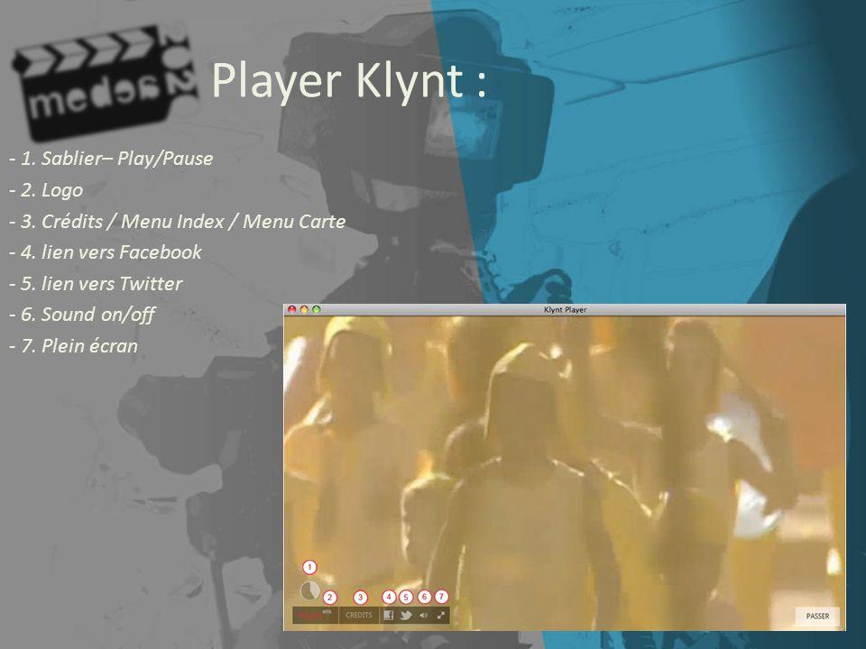 Player Klynt : - 1. Sablier– Play/Pause - 2. Logo - 3. Crédits / Menu Index / Menu Carte - 4. lien vers Facebook - 5. lien vers Twitter - 6. Sound on/